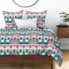 Floral Art Deco Geometric Coral Stain Glass Mid Sateen Duvet Cover by Roostery