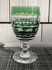 8 Val St Lambert Blarney Emerald Green Cut to Clear Water Wine Crystal Goblet