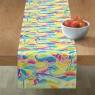 Table Runner Rainbow Wave Mosaic Stained Glass Waves Palms Ocean Cotton Sateen