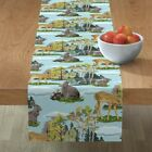 Table Runner Paint Watercolor Woodland Nursery Number Bunnies Fawn Cotton Sateen