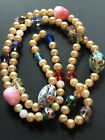 Multicolor Art Glass Beaded Faux Pearl Stunning Vintage Necklace