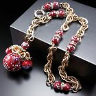 Vintage Red Venetian Murano Red Glass Charm Necklace Estate Jewelry