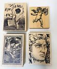 Lot of 4 Assorted Wooden Rubber Stamps MAGENTA PSX JUDIKINS Angel Child People