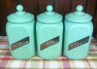 Jadeite Green Glass Large Coffee Sugar And Flour Canisters with Glass Lid
