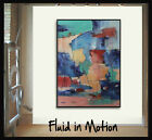 48x36 Original Large abstract painting art deco by Elsisy Blue red