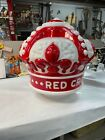 Gasoline Globe Red Crown All Milk Glass Hand Painted Red WITH 2 Rings and sc