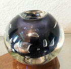Handsome Signed Dominick Labino 1977 Navy Blue Art Glass Vase Free Shipping