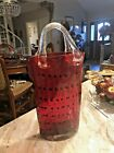 MURANO STYLE Large Hand Blown Art Glass Purse Hand Bag Vase Red Black 16 Tall