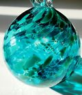Kitras Art Glass Teal Spotted Glass Friendship Ball 6 Large