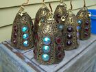 Very Unique Vintage FILIGREE METAL LAMP SHADES w LARGE AB  RUBY RED GLASS GEMS