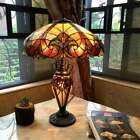 Tiffany Style Table Lamp Victorian Handcrafted Bronze Stained Glass Double Light