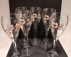 SET OF 6 PERRIER JOUET CRYSTAL CHAMPAGNE GLASSES FLUTES PINK FLORAL 8 3 8 TALL
