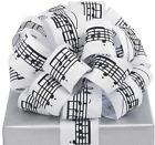 Black Musical Notes White Ribbon 20 Yards 15 Wired Bow Craft Decor Music