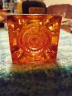 Viking Glass Persimmon Glimmer Bulls Eye 25 In Candle Holder Excellent Cond