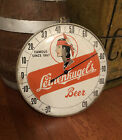 RARE Vintage 1950s Leinenkugels Beer Round Glass Advertising Thermometer