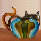 Vintage Hand Blown Art Glass Green and Blue Cat Figurine Heart Shaped