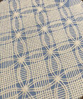 Vintage Blue White Chenille Twin Single Bed Wedding Ring Quilt BedspreadFrayed