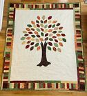 New Handmade Quilt Throw 100 Cotton Autumn Leaves Theme 59 X 68 Rich Colors