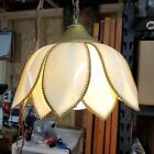Double Tulip Slag Stained Glass Swag Hanging Light Lamp Arts  Crafts Mission