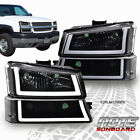 FIT FOR 2003 2006 CHEVY SILVERADO BLACK CLEAR HEADLIGHT LAMP W LED DRL