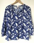 BODEN Gauzy Floral Peasant Blouse Boho Tassels Gypsy Blue White Top Tunic 16 Uk