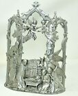 SEAGULL PEWTER Large NATIVITY Scene 1996 Holds Votive Candle in Back Heavy Glass
