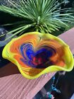 Large Hand Blown TGS Art Glass Swirl Pedestal Bowl Ruffled Compote Stamped TGS