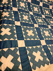 UNFINISHED HANDMADE QUILT TOP 76 X 80 inches Blue White