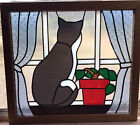 Vintage Stained Glass Cat Kitten Kitty Window Wall Hanging Sun Catcher w Frame