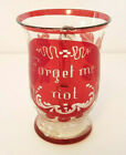 Antique RUBY FLASH Souvenir FORGET ME NOT Footed Blown GLASS CUP MUG