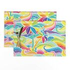 Cloth Placemats Rainbow Wave Mosaic Stained Glass Waves Palms Ocean Set of 2