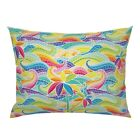 Rainbow Wave Mosaic Stained Glass Waves Palms Ocean Pillow Sham by Roostery