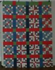 Quilt Top Double Nine Patch Equal Cotton Blue Red Green 1950 1960 Fabric Flowers