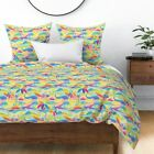 Rainbow Wave Mosaic Stained Glass Waves Palms Sateen Duvet Cover by Roostery