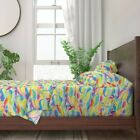 Rainbow Wave Mosaic Stained Glass Waves 100 Cotton Sateen Sheet Set by Roostery