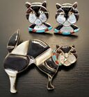 Vintage Zuni Inlay Grumpy Cat Pendant And Clip On Earrings Native American