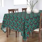 Tablecloth Poppies Red Flowers Red Poppies Seed Pod Dark Teal Red Cotton Sateen