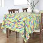 Tablecloth Rainbow Wave Mosaic Stained Glass Waves Palms Ocean Cotton Sateen