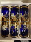 Set of 6 Czech Glasses Cobalt Blue Glass Enameled and Gold Plated