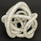 Vintage MCM Murano White Gold Glass Lovers Knot Infinity Paperweight Sculpture