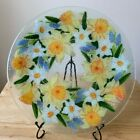 PEGGY KARR DAFFODIL 11 Fused Glass Dinner Plate Yellow Blue White VGUC