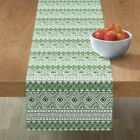 Table Runner Green  White Mud Cloth Tribal Native African Cotton Sateen