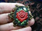 cm162 1 FLOWERS Rose roses CAMEO Pin Pendant Jewelry NECKLACE