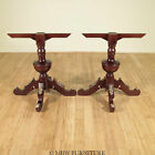 Pair of 2 Vintage Solid Wood Mahogany French Dining Table Pedestal Bases  ENSP-A