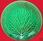 FRENCH MAJOLICA GREEN MAPLE LEAF ON PLANK PLATE GIEN