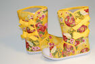 Women Fashion Stylish Flat Boots Mid Calf Yellow Floral Canvas Sneakers