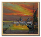 DUPONT / FLAMING SUNSET OVER FISHING HARBOUR - Original Art Oil Painting