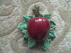 Vintage 1950's McCoy Pottery Red Apple on Green Leaf Wall Pocket.Excellent!
