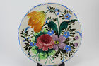 Vintage Italian Art Pottery Hand Painted Floral Plate Charger Signed Numbered