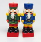 NUTCRACKERS MAGNETIC SALT PEPPER SHAKERS CERAMIC CHRISTMAS NAVIDAD